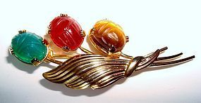 Vintage Scarab Gemstones Brooch Pin Signed