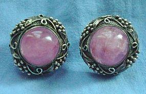 Vintage Art Deco Chinese Silver Rose Quartz Earrings