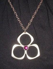 Mod Pewter Pendant w/ Purple Stone Necklace SWEDEN