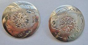 Vintage Sterling Silver Floral Disk Clipback Earrings