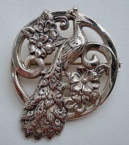 Peacock Brooch Sterling Floral Design All Hallmarks