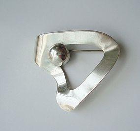Vintage Modernist Sterling Silver Pin / Brooch Signed