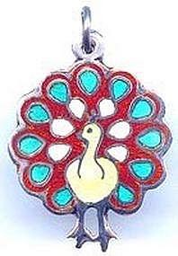 Sterling Silver Enamel Peacock Charm Taxco Mexico