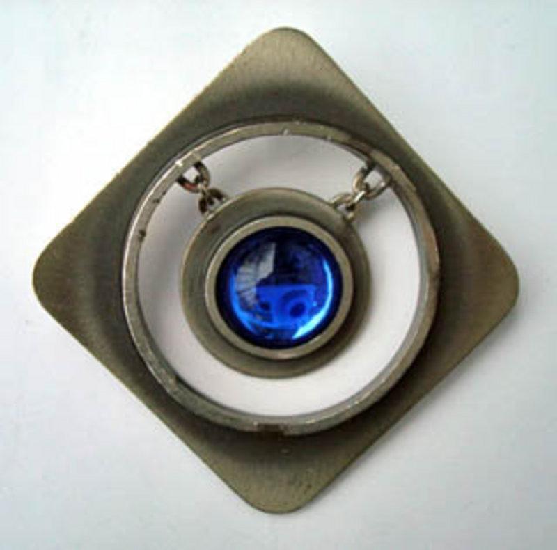 Vtg Mod Denmark Pewter Pendant Blue Stone Bent Larsen