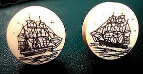Nautical Earrings Clipper Ship Scrimshaw FREE US S/H