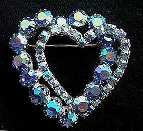 Large Vintage Rhinestone Heart Brooch Blue Aurora Borealis circa 1950
