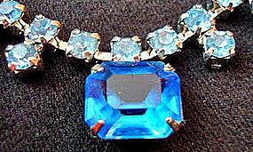Blue Rhinestone Necklace Brooch Set c. 1950s