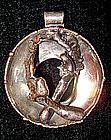 Large Mod Silver Pendant Denmark Signed c. 1970