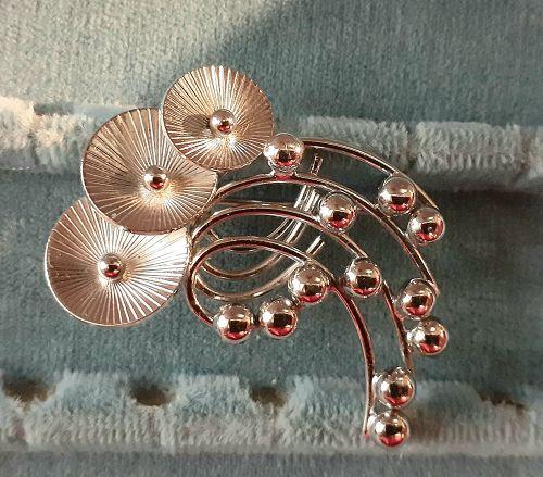 Mod Vintage Sterling Floral Brooch with Maker's Mark