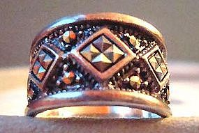 Vintage Sterling Silver Marcasite Wide Band Ring