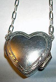 Vintage Sterling Silver Heart Locket Artist Mark and Hallmarks London