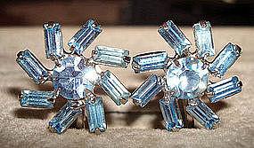 Vintage Aquamarine Screwback Earrings c. 1950s