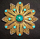 Vintage Turquoise Eilat Brooch and Pendant Gold and Sterling Sterling