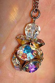 Stunning Aurora Borealis Rhinestone Drop w/ Necklace