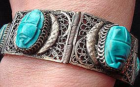 Egyptian Revival Silver Scarab Hinge Link Bracelet