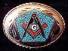 Large Freemason Turquoise Coral Chip Inlay Belt Buckle