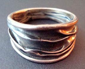 Vintage Sterling Modernist Ring Wonderfully Unusual