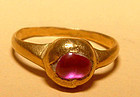 Ancient Gold Ring with a Pink Ruby