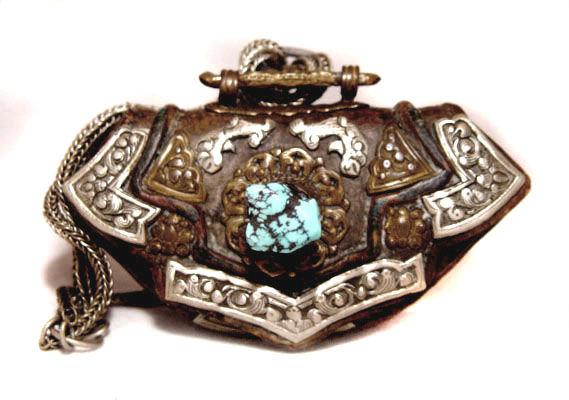 Tibetan Leather Lady's Purse w/ Silver Workings
