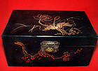 Chinese Lacquered Table Chest with Floral Painting - 19th Century.