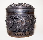 Burmese Round Silver Repousse Betel Case - 19th Century