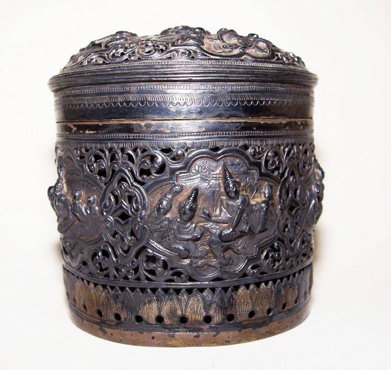 Burmese Round Silver Repousse Betel Case - 19th Century