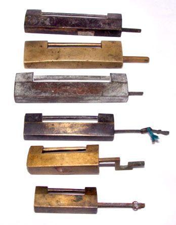 Six Brass Chinese Locks with Keys - Qing 19th Century