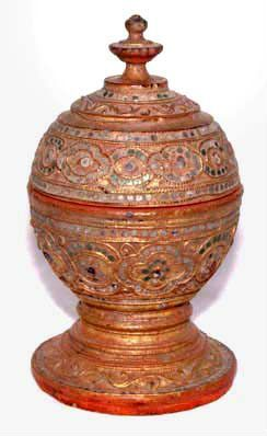 Burmese Old Gilded Dome Covered Bowl