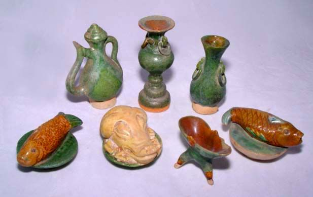 Chinese Authentic Assorted Ming Seven Miniature Tomb Items