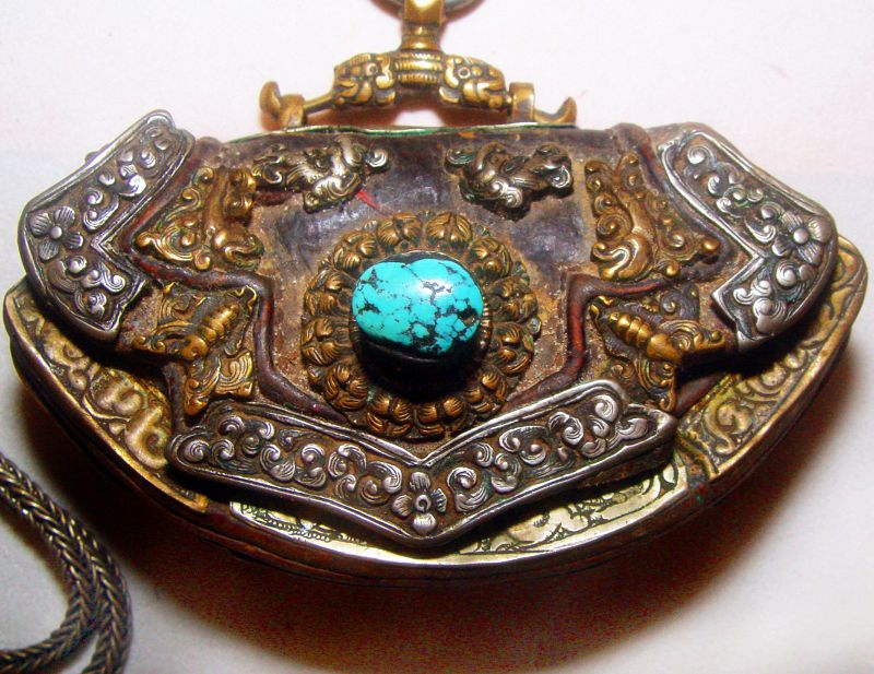 Tibetan Lady's Purse with Silver Carvings Complete #3