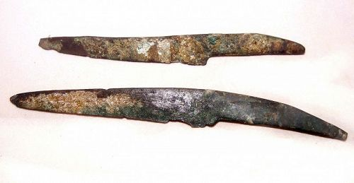Two Ancient Chinese Shang Bronze Knife Coins - 1600 - 1028 BC