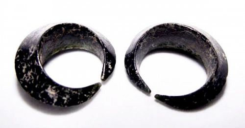 Pair of Ancient Glass Earrings - Cambodia 100 BC