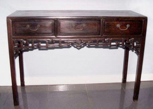 Rare Chinese Three Drawer Blackwood Hongmu Table-19th Century