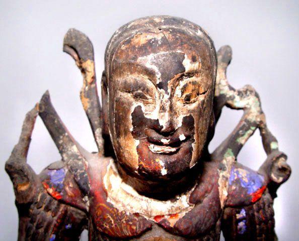 Chinese Rare Ming Wooden Statue of War God KuanTi - 16th Century