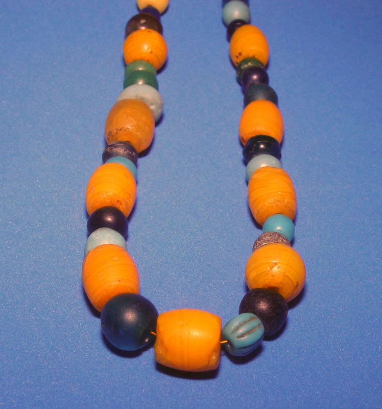 Chinese Old Glass Bead Necklace  618 to 1800 AD
