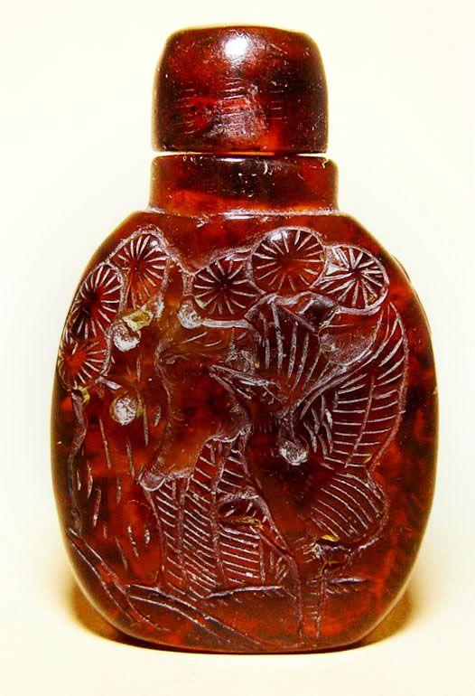 Chinese Amber Snuff Bottle w/Phoenix,Bat & Holy Man