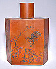 Chinese Scholar's Bamboo Tea Container - Qing 19th C.