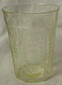 Princess Yellow Flat Water Tumbler Hocking Glass Co.