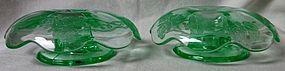 Nora Bird Green Candlestick Pair Paden City Glass