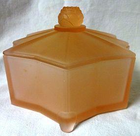 """Lotus Pink Frosted Powder Jar 5.75"""""""