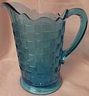 "Basketweave Blue Pitcher 8.75"" Co Operative Flint Glass Company"