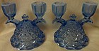 Laced Edge Blue Opalescent Candlestick Pair Imperial Glass Company