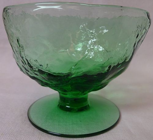 "Crinkle Green Sherbet 3"" 6 oz Morgantown Glass Company"