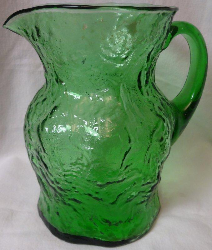 "Crinkle Green Ockner Pitcher 8"" Morgantown Glass Company"