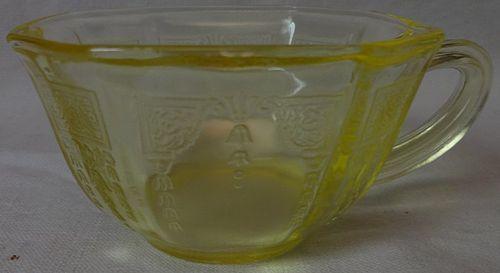 Princess Yellow Cup Hocking Glass Company