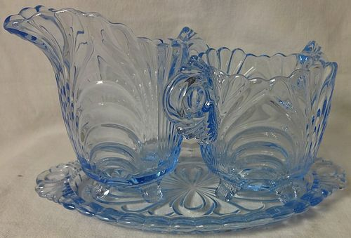 """Caprice Moonlight Blue Creamer 4.25"""" and Sugar 3.5"""" on Tray #42"""