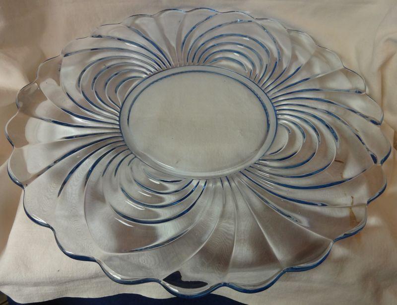 "Caprice Moonlight Blue Plate 16.5"" #30 Cambridge Glass Company"