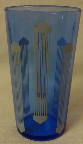 "Art Deco Juice Tumbler 3.75"" Ritz Blue Hazel Atlas Glass Company"