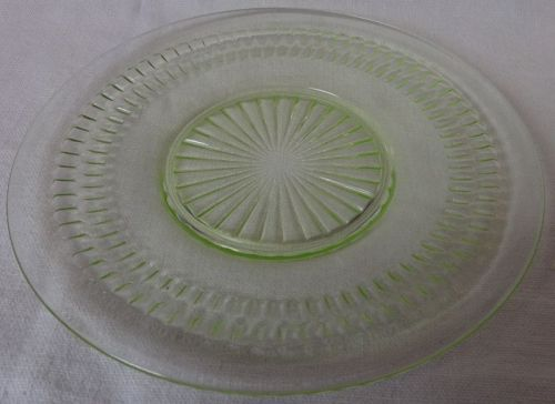 """Roulette Green Sherbet Plate 6"""" Hocking Glass Company"""