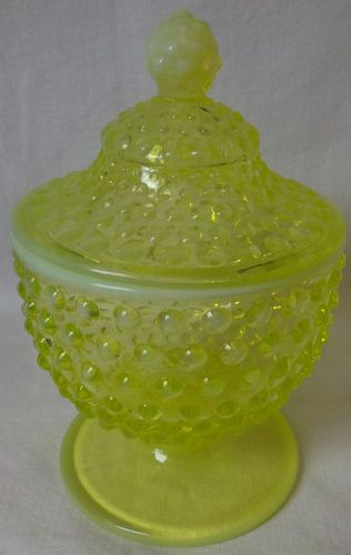 Hobnail Topaz Opalescent Candy Footed #389 Fenton Glass